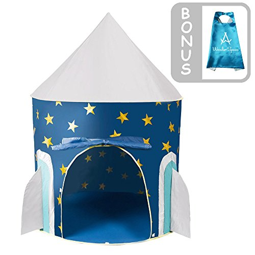 Children Play Tent - Space Rocket Castle Kids Playhouse by Wonder Space, Comes with Free Space Adventure Kids Cape an Carrying Case, Ideal for Indoor & Outdoor Use, Best Gift for Boys and Girls (Blue)