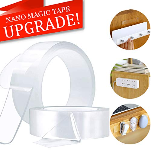 Nano Magic Tape, Double Sided Mounting Carpet Tape Heavy Duty, Traceless Washable Removable Strong Adhesive Rug Tape Gripper, Reusable Clear Anti Slip Gel Grip Tape (1M(3.28FT))