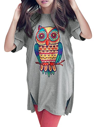 Allegra K Women Short Sleeve Owl T Shirt Side Split Loose Fit Tee L Light Grey