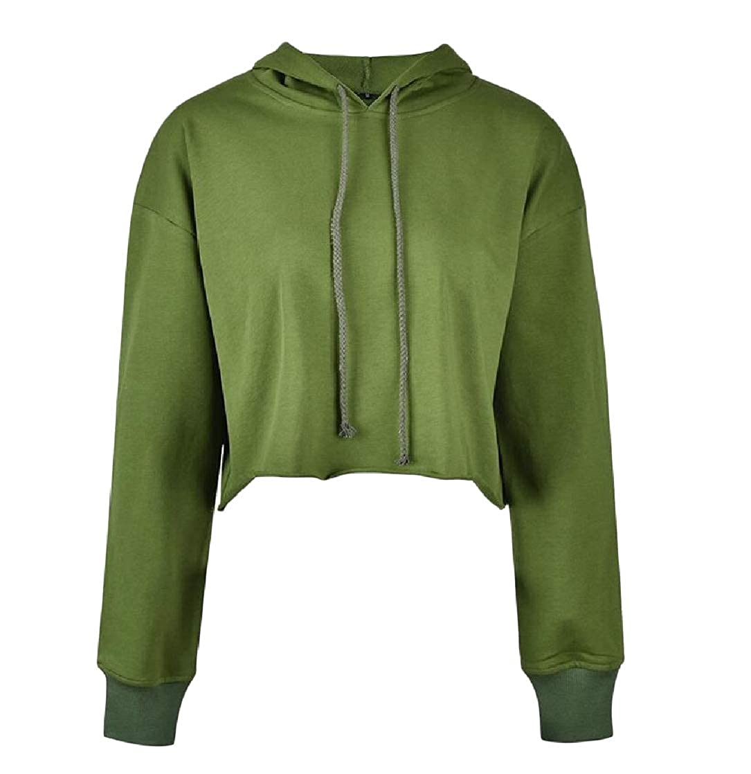 Etecredpow Womens Cutoff Solid Cropped Pullover Hoodie Loose Sweatshirts
