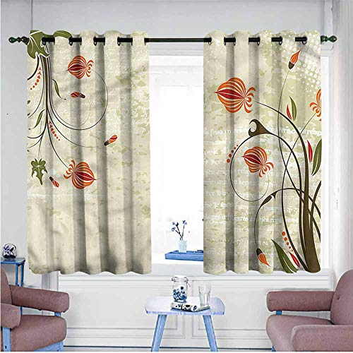 Mdxizc Decor Curtains Floral Shabby Chic Curved Onion Printing Insulation W55 xL39 Suitable for Bedroom,Living,Room,Study, etc.