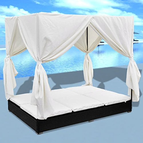 Daonanba Stable Durable Sun Lounger with Curtains Comfortable Sunbed Outdoor Sofabed Garden Furn ...