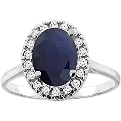 14K Gold Natural Blue Sapphire Halo Ring Oval 9x7mm Diamond Accent, sizes 5 - 10