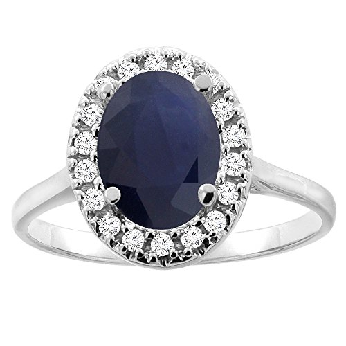 14K Gold Natural Blue Sapphire Halo Ring Oval 9x7mm Diamond Accent, sizes 5 10