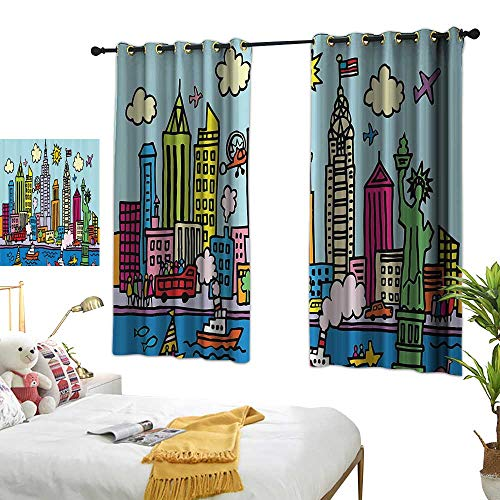 Guane red Curtains Playroom Decor,New York City in