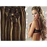 100% Clip In Real Human Hair Extensions 7PCS 22 Inch 70g color 2/613-darkest brown mix blonde