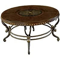 Homelegance Jenkins Metal and Wood Round Cocktail Table, Cherry