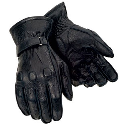 Tour Master Deerskin Mens Leather Cruiser Motorcycle Gloves - Black/Small