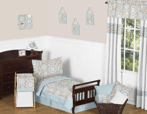 Sweet Jojo Designs 5-Piece Blue and Taupe Hayden Boy or Girl Toddler Bedding Set