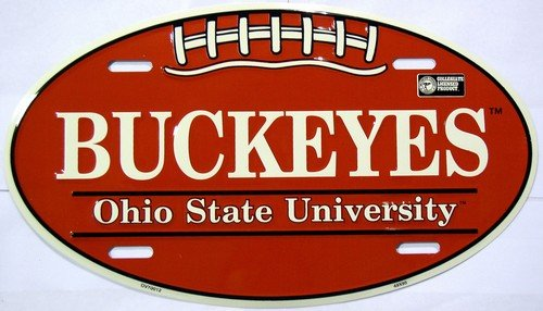 Ohio State University Buckeyes Embossed Novelty Vanity Metal Oval License Plate Tag Sign OV70012 by Smart Blonde