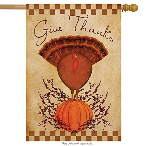 Primitive Thanks Turkey House Flag Thanksgiving 28