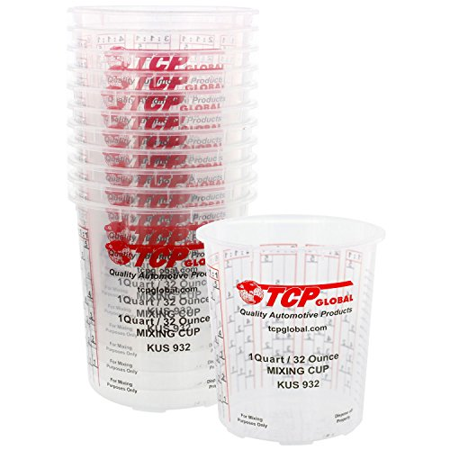 Kus Quick Mix Cups - Custom Shop Pack of 12 Each 32 Ounce Paint Mix Cups with calibrated Mixing ratios on Side of Cup