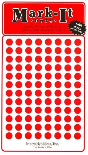 Medium 1//4 removable Mark-it brand dots for maps reports or projects red
