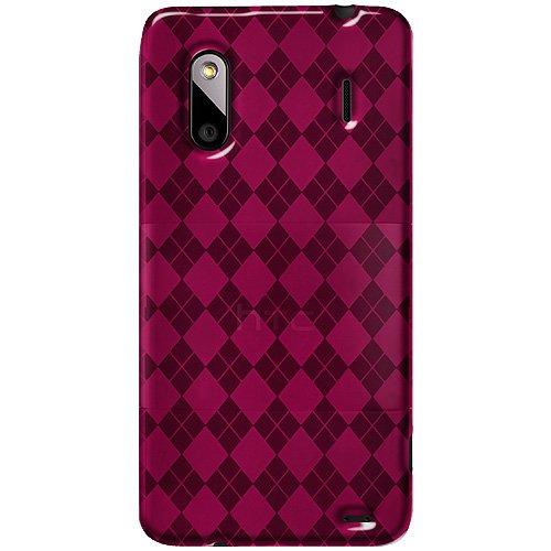 (Amzer Luxe Argyle High Gloss TPU Soft Gel Skin Case for HTC Evo Design 4G - Hot Pink - 1 Pack - Case)