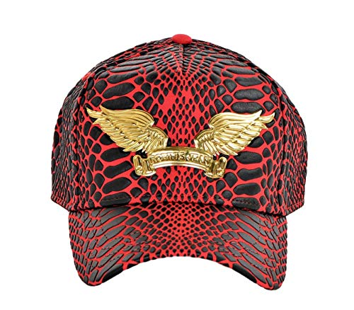 (Robin's Jean Crackle Cap With Gold Wings Curve Bill Snap Back One Size Red)