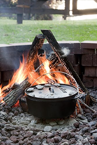 lodge logic 10 quart cast iron camp dutch oven with iron lid easy to clean ebay. Black Bedroom Furniture Sets. Home Design Ideas