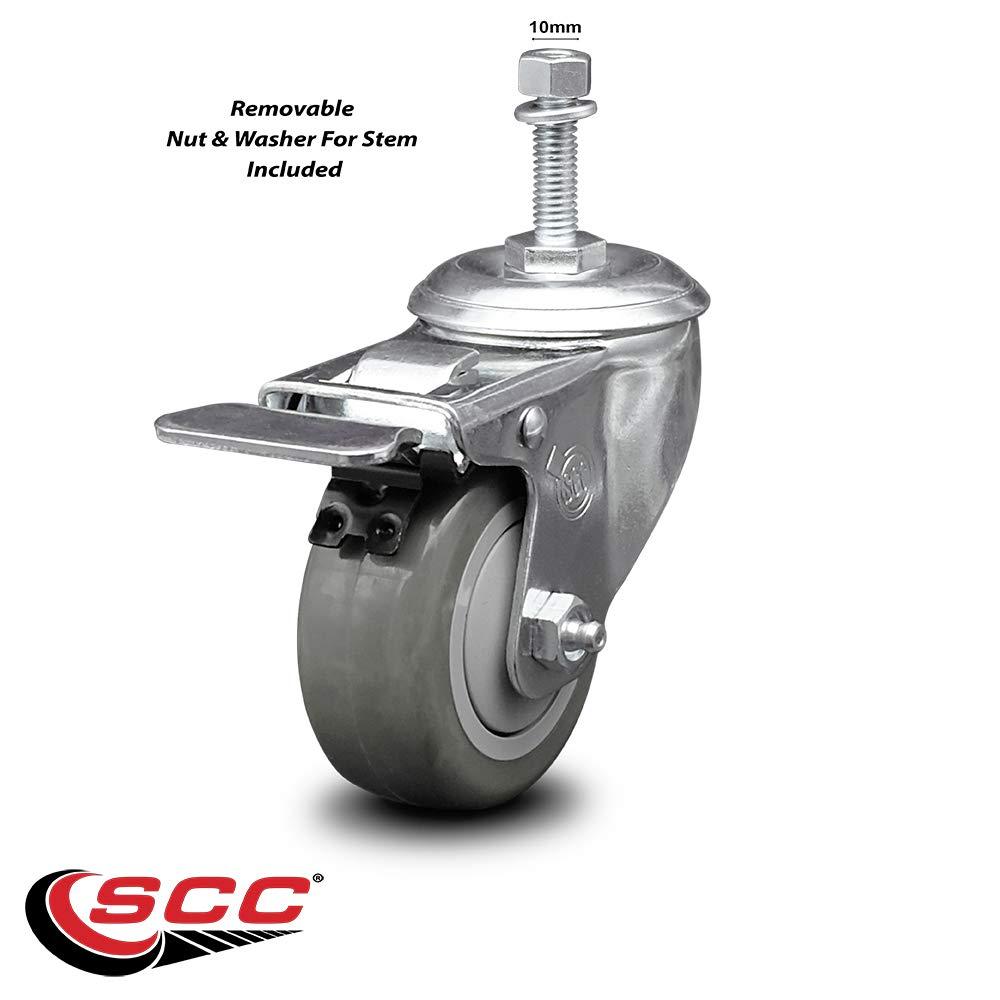250 lbs Capacity//Caster Service Caster Brand Gray Polyurethane Swivel Threaded Stem Caster w//3 x 1.25 Wheel and 10mm Stem /& Total Locking Brake