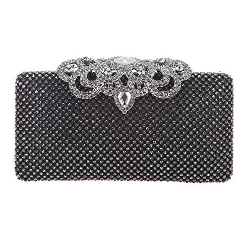 Crown Purse Black Pure Glitter Bling Clutch Bag Crystal Rhinestone Bonjanvye p7wfSqxnv5