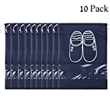 Willcome 10 Pack Dual Drawstring Waterproof Shoe Storage Bags with Clear Visual Window for Travel Luggage Carrying Dust-proof Shoe Organizer