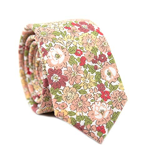 (DAZI Men's Skinny Tie Floral Print Cotton Necktie, Great for Weddings, Groom, Groomsmen, Missions, Dances, Gifts. (Fresh Spring))