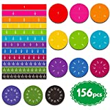 156 pcs Magnetic Rainbow Fraction Tiles Circles