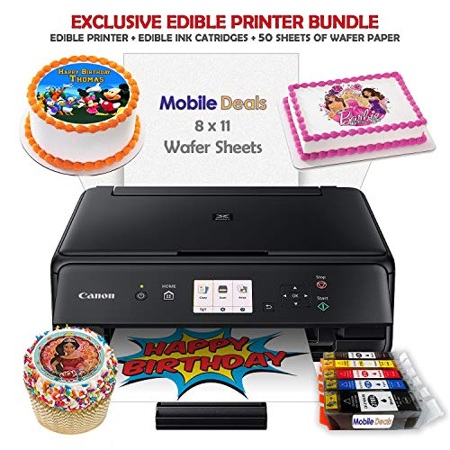 Mobile Deals Edible Birthday Cake Topper and Tasty Treats Image Printer Bundle - Includes Canon Wireless Printer, Edible Ink Cartridges and Wafer Paper Kit (Best Edible Ink Printer)