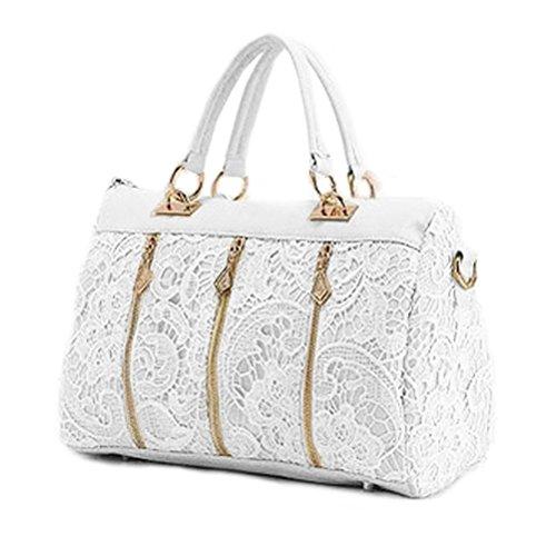 LEORX Da donna in pizzo morbido PU Pelle Borsa Tote Bag borsa a tracolla (Bianco)