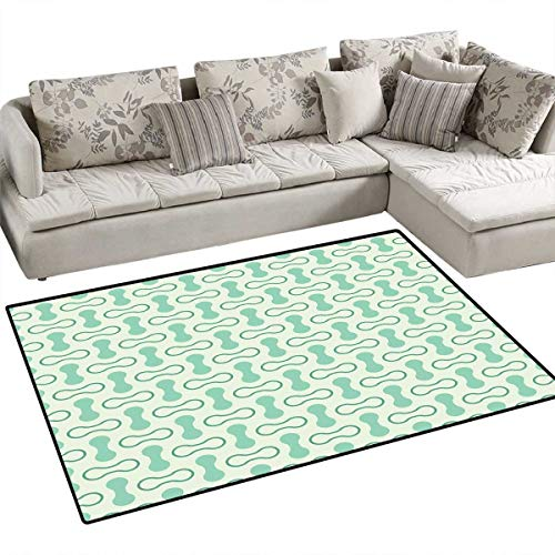 Mint Bath Mats Carpet Abstract Rounded Shapes Vertical and Horizontal Shabby Simplistic Retro Door Mats for Inside Non Slip Backing 40