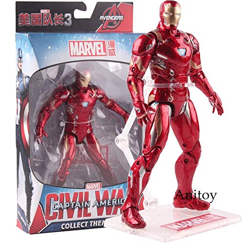 With box -Type1604 Captain American Civil War Iron Man Figure Action PVC Marvel Avengers Toys Figure Collectible Model Toy 17.5Cm - Toys and Games for Boys Ages 8 13 - Marvel Legend Spiderman