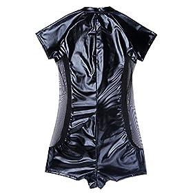 - 51SaiND7GfL - CHICTRY Men's Wet Look Black Leather Bodysuit Catsuit Mesh Splice Clubwear Costumes