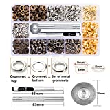 Metal Grommet Kit 3/16 inch 400Pcs Grommets Eyelets Sets with 3 Pieces Install Tool Kit and Box for Shoes Clothes Crafts Bag DIY Project 4 Colors