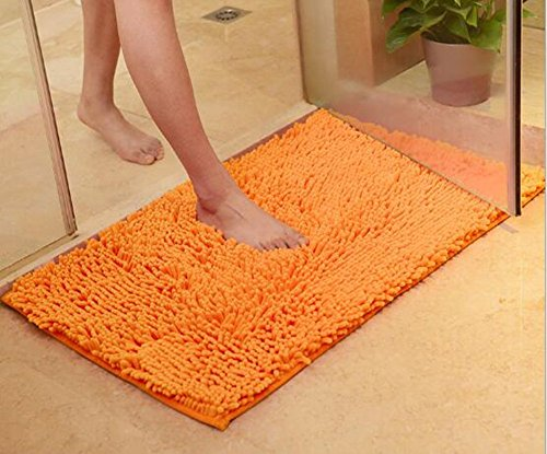 TOPCHANCES Cute Non Slip Water Absorption Plush Bath Mat Soft Floor Rug Bedroom Bathroom Shower Carpet Natural Reversible Plastic Rug Backed Rubber Doormat (45cm x 70cm,1.5cm Thickness)(Orange) (Orange Memory Bath Mat Foam)