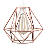 Frideko Vintage Pendant Light, Retro Industrial Metal Bird Cage Light Fitting for Loft Restaurant Coffee Bar (Rose Gold)