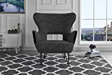 Cheap Mid-Century Modern Two-Tone Linen Fabric Accent Armchair with Shelter Style Living Room Chair (Dark Grey/Black)