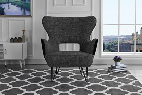 Mid-Century Modern Two-Tone Linen Fabric Accent Armchair with Shelter Style Living Room Chair (Dark Grey/Black)