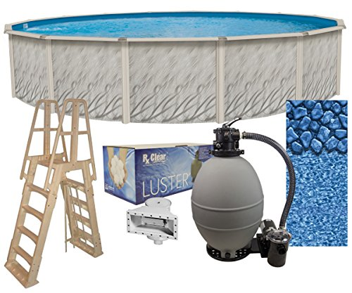 Meadows 30-Foot-by-52-Inch Round Above-Ground Swimming Pool Complete Bundle Kit | Boulder Swirl Pattern Overlap Liner | A-Frame Ladder System | Filter Tank | 2 HP Pump | Wide-Mouth Skimmer ()