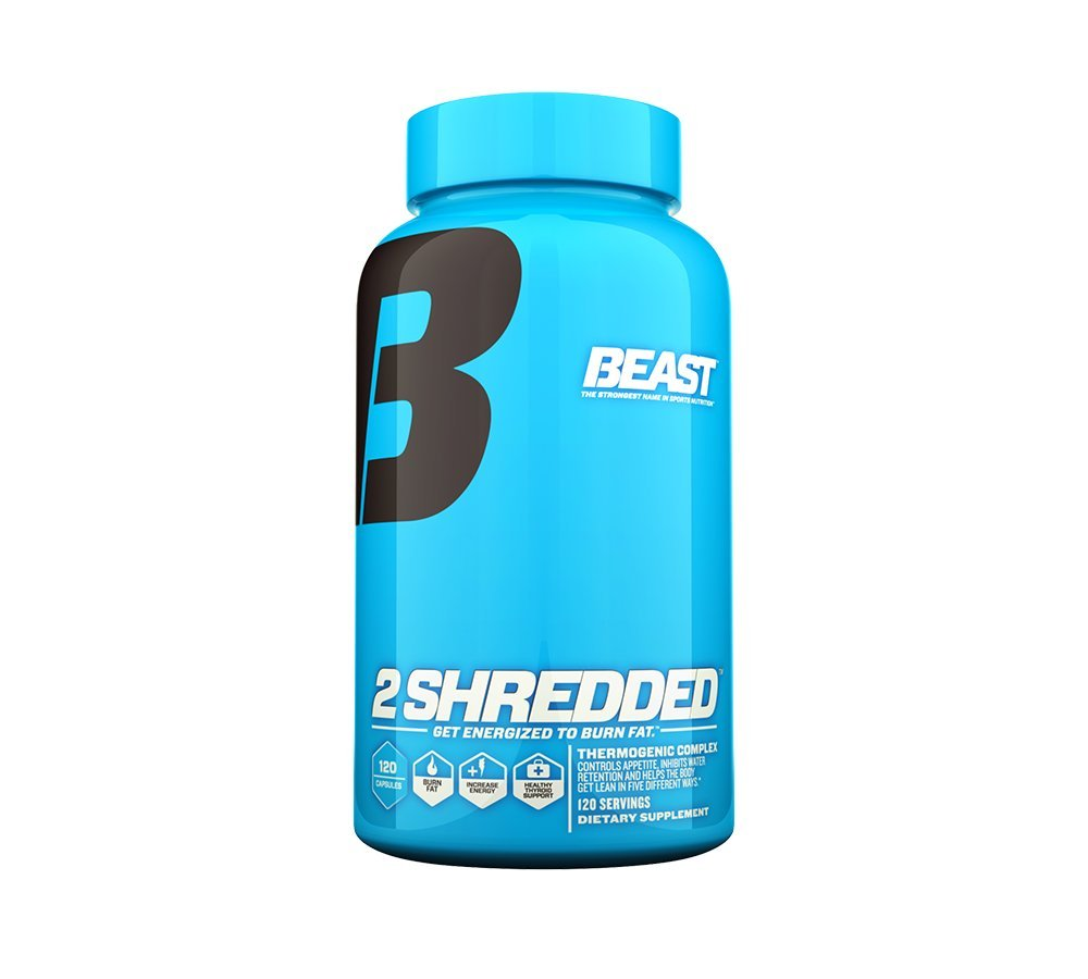 Beast Sports Nutrition - 2 Shredded - Thermogenic Weight Loss Supplement - Burns Body Fat - Controls Appetite - Supports Healthy Thyroid - Increases Daily Energy - 120 Veggie Caps