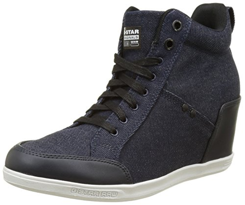 881 Labour col Scarpe New con Navy Donna Plateau Tacco Wedge Dark Blu STAR G RAW pYtU6t