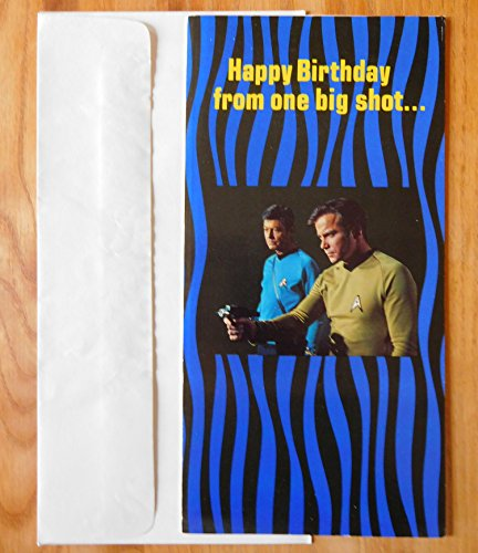 Classic Star Trek Happy Birthday Big Shot 1976 Card with Punchout Phaser -