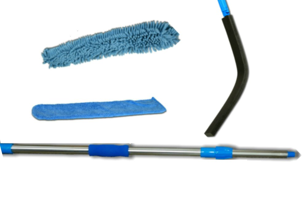 4 Units High and Low Wet or Dry Duster kit has a bending Wand, 2 Hypoallergenic Microfiber Machine washable Duster Sleeves and a lightweight 6-ft aluminum Extension Pole. Total Length to 8-3/4 ft.