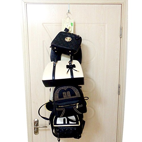 Hanging handbag closet organizer purse storage with 6 for Hooks to hang purses