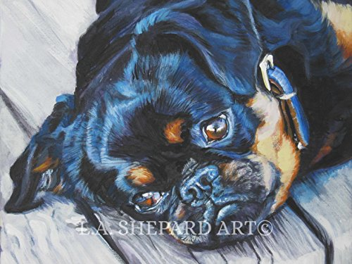 (A Brussels Griffon Dog art portrait print of an LA Shepard painting 8x10