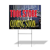 Tool Store Coming Soon Outdoor Lawn Decoration Corrugated Plastic Yard Sign - 12inx18in, Free Stakes