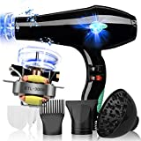 Nclon Dry hair dryer 4000w,Lightweight Quiet Salon tools Powerful Cold air Household Concentrator nozzle Diffuser Do not hurt the hair Anion-black