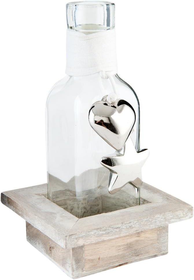 Clayre & Eef 63642 - Botella Decorativa de Cristal con Soporte de Madera (9 x 9 x 15 cm)
