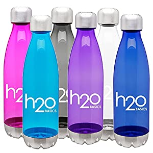 BPA-Free Sport Water Bottles 25 oz, Tritan Non Toxic Plastic, Reusable Flask with Stainless Steel Leak Proof Twist Off Cap & Steel Base, Cola Bottle Shape (Clear, 25 Ounces)