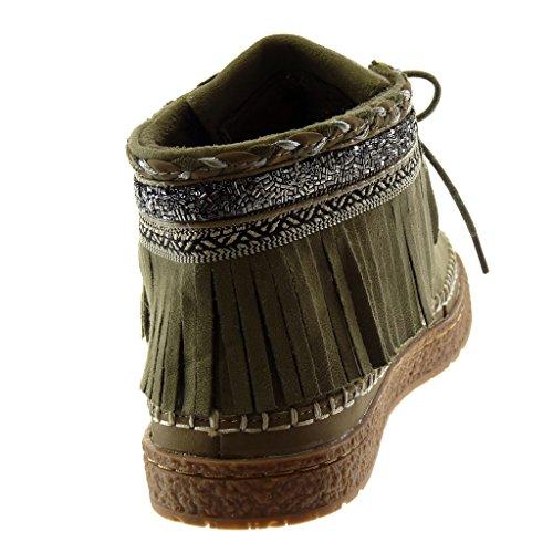 Mocasines Fleco Moda Bordado 2 Tacón cm Verde Mujer Zapatillas Angkorly Plano Folk Botines Botas Fantasía I0wAq