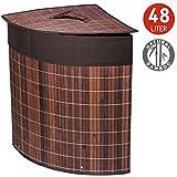 Tatkraft Athena Bamboo Corner Laundry Basket with Cotton Bag 48L 13.5X13.5X19.5 inches