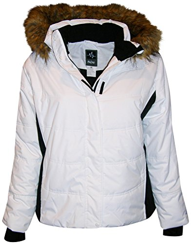 Pulse Women's Plus Extended Size Ski Coat Jacket Aspens Calling (2X, White (Aspen Ski And Snowboard)