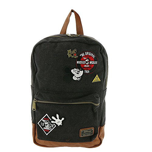 Loungefly Mickey Mouse Patches Denim Backpack (One, Black-multi, Size No Size